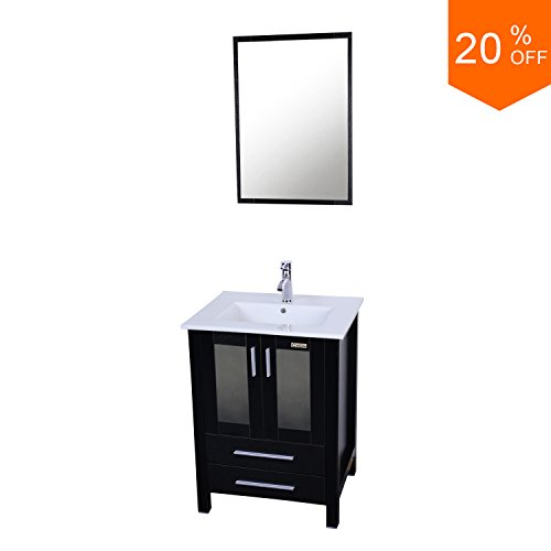 bathroom vanity and sink combo. Eclife 24 5  Modern Bathroom Vanity Sink Combo With Overflow Ceramic Top MDF Stand Cabinet Chrome Solid Grass Faucet And Pop Up Drain