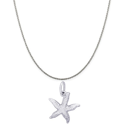 Rembrandt Charms Sterling Silver 3D Starfish Charm on a Sterling Silver Rope Chain Necklace, 20