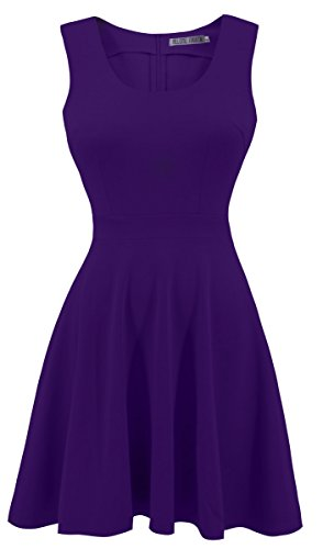 Heloise Women's A-Line Wide Round Neck Sleeveless Pleated Little Purple Cocktail Party Dress (L, (Junior Line)