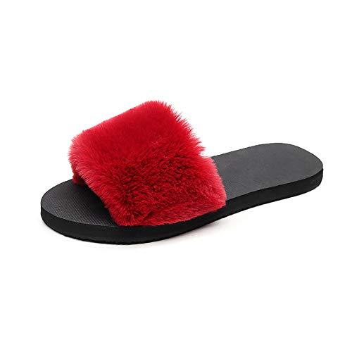 Qsy Le E Caldo Fondo Shoe L'autunno Che Per Peluche Rosso L'inverno Antiscivolo Vino Pantofole Piatto Donne Indossano A RY6YrqPxw