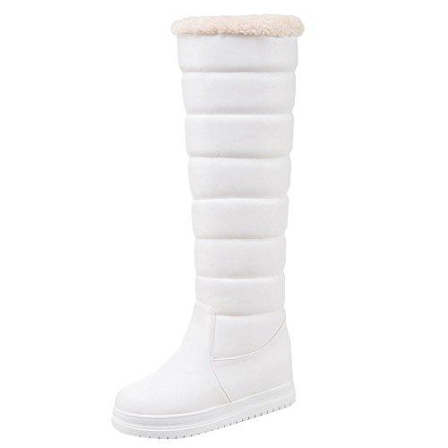 Charm Foot Womens Winter Hidden Heel Platform Snow Knee High Boots White