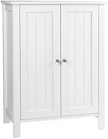 VASAGLE Bathroom Floor Storage Cabinet with Double Door Adjustable Shelf, 23.6 x 11.8 x 31.5 Inches White UBCB60W