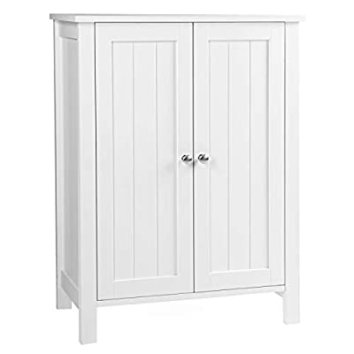 VASAGLE Bathroom Floor Storage Cabinet with Double Door Adjustable Shelf, 23.6 x 11.8 x 31.5 Inches White UBCB60W - SELECTED MATERIAL: Crafted from durable natural fiberboards for long-term use,  paint to secure no harm to your family, a perfect choice for your bathroom CONSIDERATE DESIGN: 2 interior shelves with 3 adjustable heights meet various storage needs; the closed storage room with 2 doors keeps your stuff away from dust; 2 chromed metal knobs make it convenient for daily use WATERPROOF & EASY SETUP: High-quality material withstands the humidity of the bathroom and prevents moisture; all accessories and detailed instruction are included, setup is a breeeze - shelves-cabinets, bathroom-fixtures-hardware, bathroom - 311iJcZVs4L. SS400  -