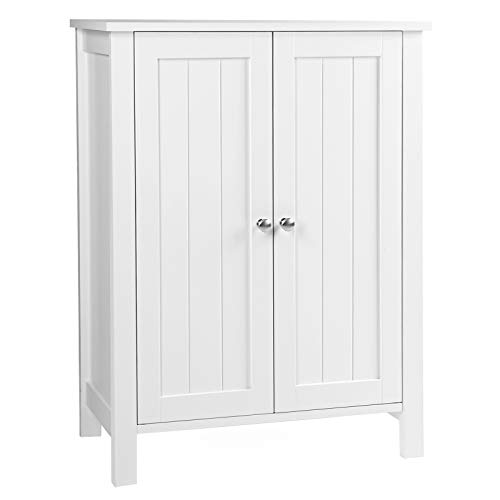 White Bathroom Furniture - VASAGLE UBCB60W Bathroom Floor Storage Cabinet with Double Door Adjustable Shelf, 23.6
