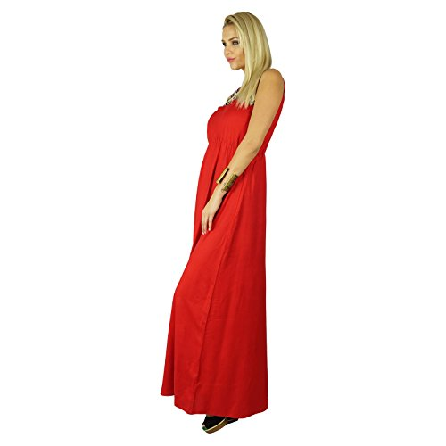Bimba Maxi Trendy Clothing Long Chic Red Embroidered Red Women Dress Neck Custom rA4vqrx