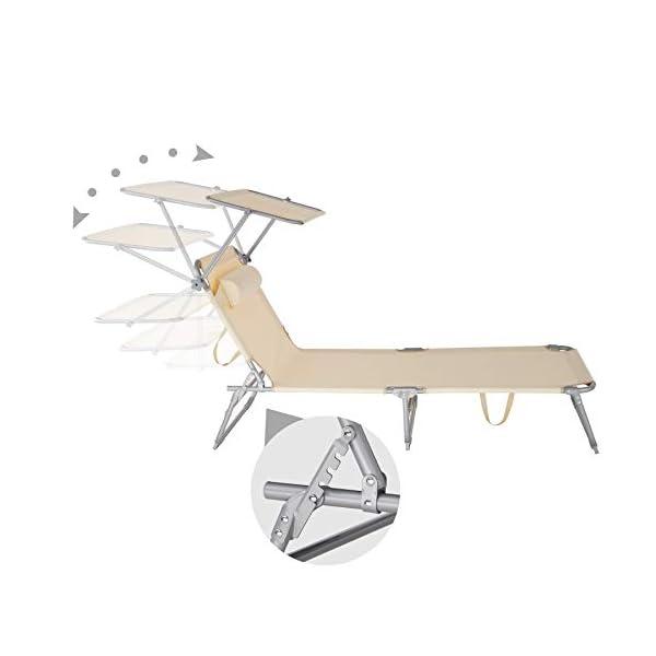 311iKXvGdfL TecTake 800773-2er Set Sonnenliege mit Dach, klappbare Strandliege, Gartenliege mit Kissen, Sonnendach verstellbar…