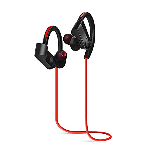 Bluetooth Headphones IPX5 Waterproof, Wireless Sport Earphones Bluetooth 4.2, HiFi Bass Stereo Sweatproof Earbuds w/Mic, Noise Cancelling Headset for Workout, Running, Gym, 10-12 Hours Play Time