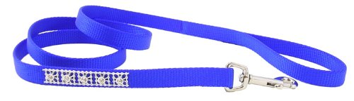 Jeweled Dog Leash - 4 Ft. Blue with Swarovski Crystal Jewels with a Width of 5/8 in.