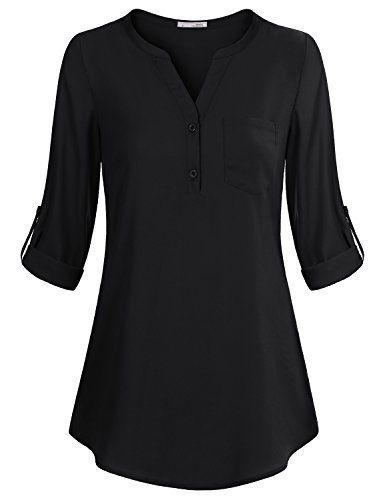 Messic Women Shirts and Blouses, Women's V-Neck 3/4 Cuffed Sleeve Button up Loose Fit Casual Chiffon Tunic Shirt (Black,X-Large) ()
