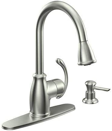 Moen CA87055SRS Single Handle Kitchen Faucet with Pullout Spray from the Terrace Collection, Spot Resist Stainless