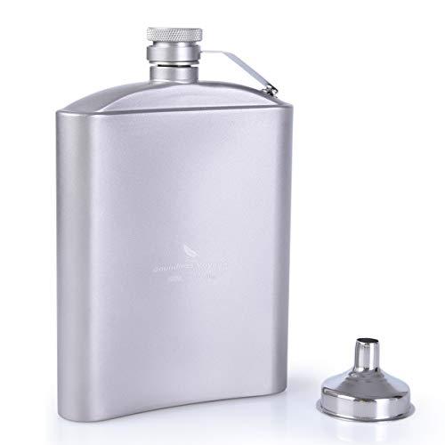 iBasingo 200ml/ 250ml Titanium Hip Flask Sake Cup Set Outdoor Camping Flat Liquor Flask Alcohol Whiskey Wine Flagon Mug Wearproof Wine Pot Drinking Cup for Travel Picnic