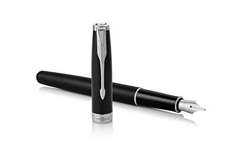 PARKER Sonnet Fountain Pen, Matte Black Lacquer with Palladium Trim, Medium Nib (1931522)