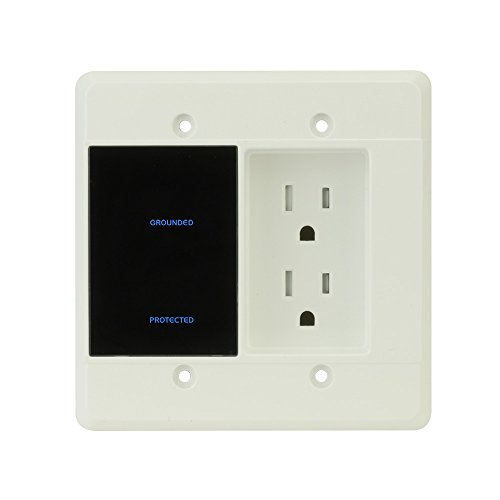 Element-Hz Power Series In-Wall Surge Protector w/Recessed Dual Outlet, 1080 Joules