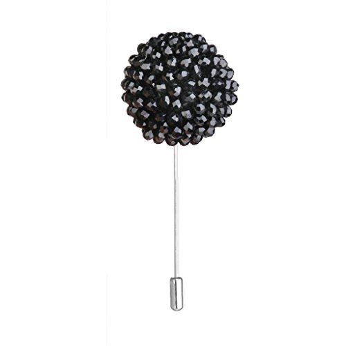 Broche Pin a Smoking Spherique a la Boutonniere Revers Pour Homme Noir