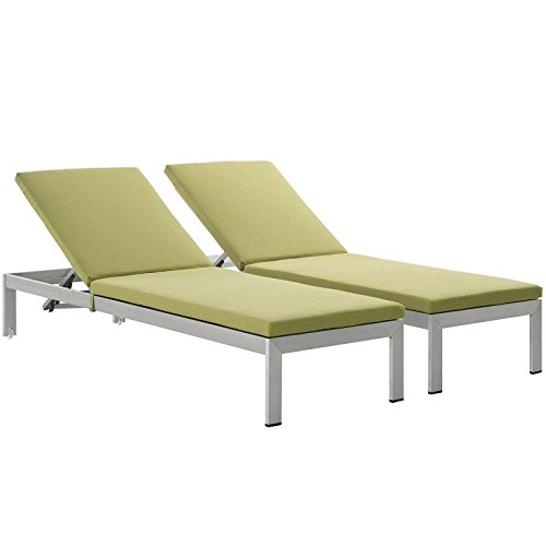 Modway Shore Set of 2 Outdoor Patio Aluminum Chaise with Cushions in Silver Peridot (Chair Lounge Silver)