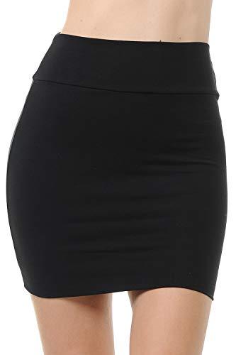 Fashion Aktiv Basic Double-Layer Cotton Simple Stretchy Tube Pencil Mini Skirt (Medium, Black)