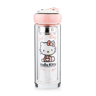 Cartoon Hello kitty Glasses Creative cute double glass Travel Cup Milk coffee cup