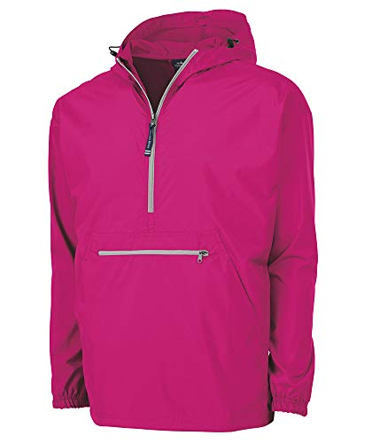 Charles River Apparel Pack-N-Go Wind & Water-Resistant Pullover (Reg/Ext Sizes), Hot Pink, M ()