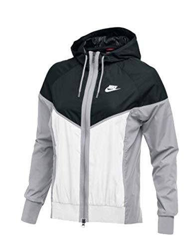 NIKE Womens Wind Runner Full-Zip Jacket Black/White/Wolf Grey Size Medium