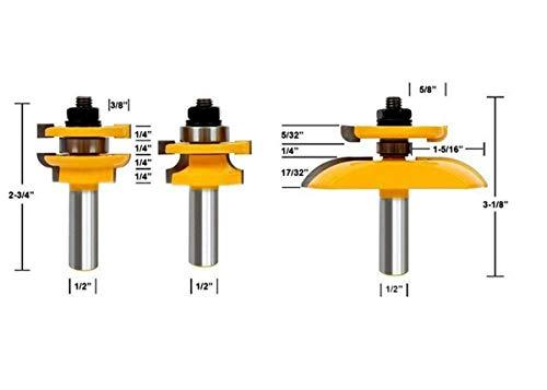 HOEN 1/2'' Shank Rail & Stile Ogee Blade Cutter Panel Cabinet Router Bits Set Milling cutter Power Tools Door knife Wood (Door Making Router Bits)