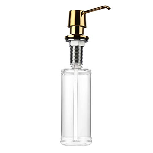 Homary Polished Gold Deck Mounted Built In Soap Dispenser for Kitchen Sink Countertop Commercial Dish Soap Lotion Dispenser Pump with 12 OZ Bottle, Solid Brass Main Body ()