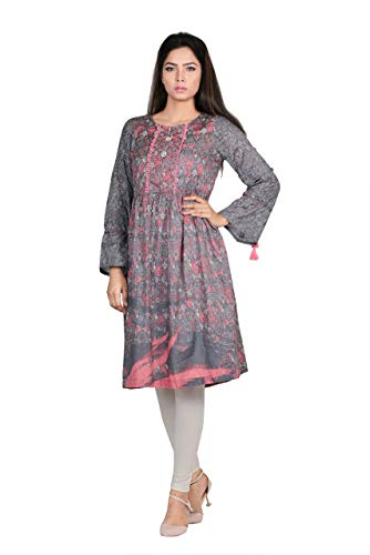 YELLOW Serene Printed Frock Style Kurti Ready to wear Coral Haze