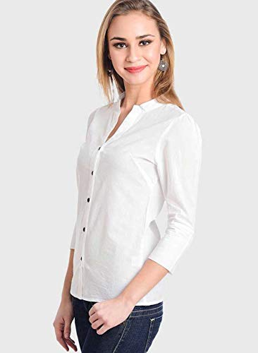 Archini Women's Solid White Casual Shirt
