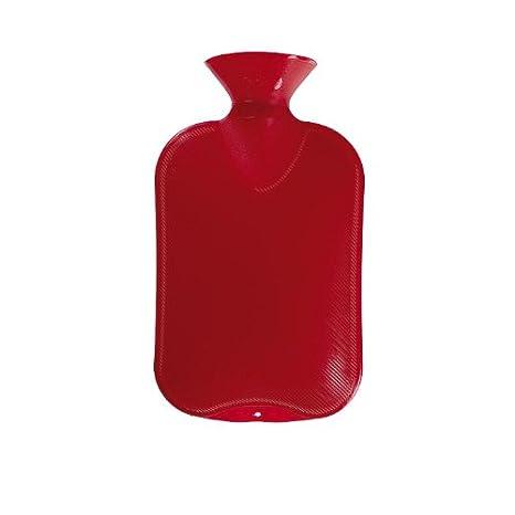 Fashy - Bolsa de agua caliente (2 l), diseño de rayas, color rojo