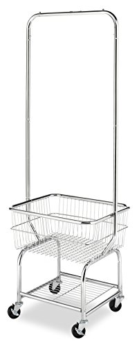 Basket Wire Carts - Whitmor Commercial Rolling Laundry Butler with Wire Storage Rack