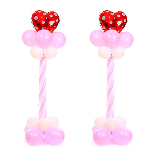 Party Zealot 2 Set Red Love Hearts Balloon Column Stands Base and Pole Kit - 5.3 FT and 3lb Weight Balloon Tower for Valentine's Day, Wedding Party, Married Anniversary Romantic Decoration ()