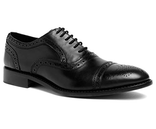 Anthony Veer Men's Ford Wingtip Brogue Lace-up Full Grain Leather Dress Formal Wedding Office Shoes Goodyear Welt (9.5 D(M) US, Black Full Grain Calfskin - Leather Sole)