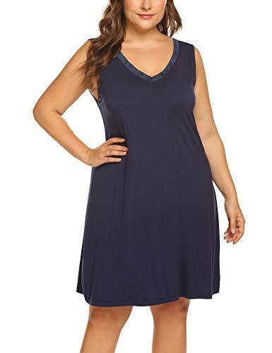 (IN'VOLAND Plus Size Nightgowns Womens Sleepwear Sleep Dress Summer Sleeveless V Neck Nightshirt)
