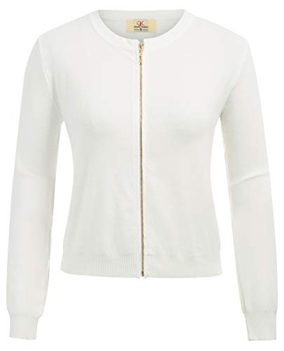 Long Sleeve Zipper Open Front Cropped Knit Shrug Cardigan White Size L CL871-2