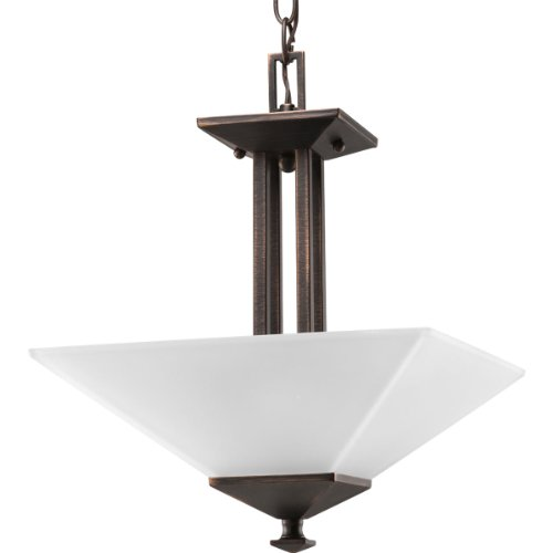 Progress Lighting P3597-74 2-Light Semi-Flush Fixture In Square Etched Glass with Craftsman and Mission Chain and Ceiling Mounts Both Included, Venetian Bronze