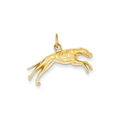 (14K Yellow Gold Greyhound Dog Charm Pendant )