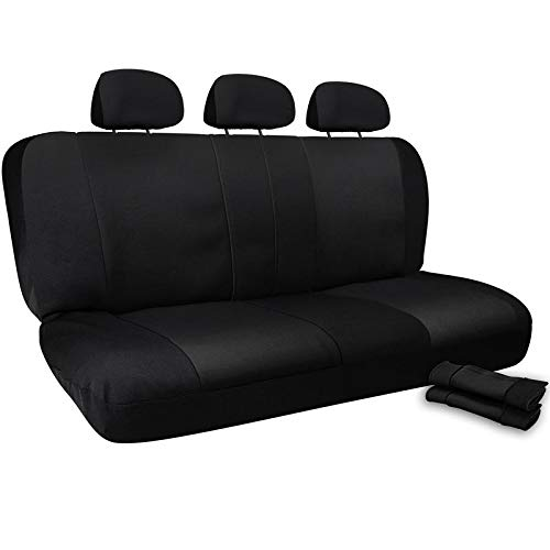 Motorup America Auto Bench Seat Cover - Black & Blue Full Set - Fits Select Vehicles Car Truck Van SUV