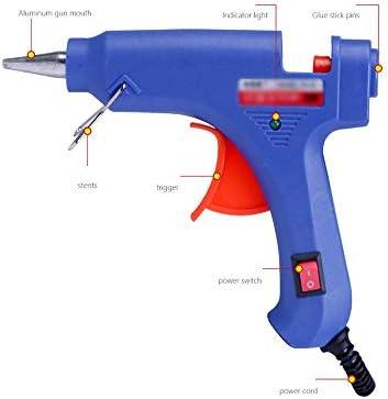 Minmin 20のりが付いている熱い溶解の接着剤銃は子供の大人のDIYの芸術の作成およびシールの修理、青のための20W電気熱い溶解の接着剤銃を付けます ミニ