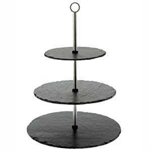 Natural Hand Cut 3 Tier Slate Cake Stand (H42cm x 29cm)