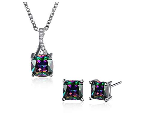 Yuchoi Girl Jewelry Fashion Square Color Zircon Necklace Stud Earrings Decoration Suit by Yuchoi