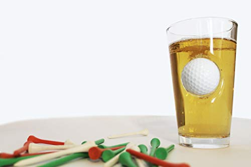 Golf Pint Glass with Metal Golf Ball Crashing Through - 16oz. Golf Beer Glass | Novelty Golf Beer Glass makes a perfect Christmas or Father's Day Present ()