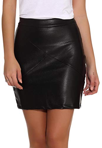 GUANYY Women's Faux Leather Vintage High Waist Classic Slim Mini Pencil Skirt (Black, Small)