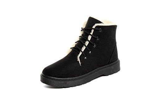Women's Snow boots kurze Stiefel Schnürsenkel flach Baumwolle casual Winter samt, Dunkelbraun, 38