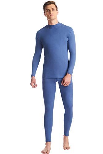 SANQIANG Men's Half Neck Thermal Underwear Set Tagless Cotton Long Johns Sets Top & Bottom Base Layer(US Size M=Tag Reads 2XL,Denim (Dog Long John Pajamas)