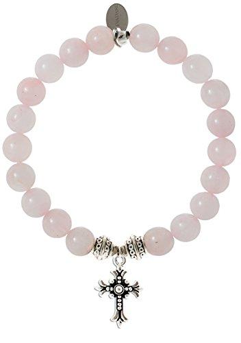 EvaDane Natural Semi Precious Rose Quartz Gemstone Tibetan Bead Cross Charm Stretch Bracelet - Size 8 Inch ( 1_RQ_S_T_CRO_8)