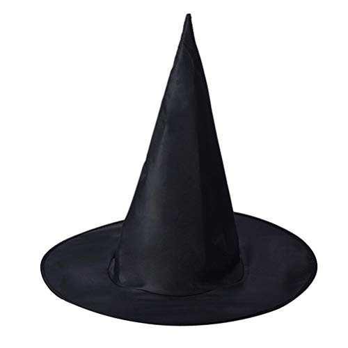 Auwer Halloween Decorations 1Pcs Adult Womens Black Witch Hat For Halloween Costume Accessory (Black Pack of 1)]()