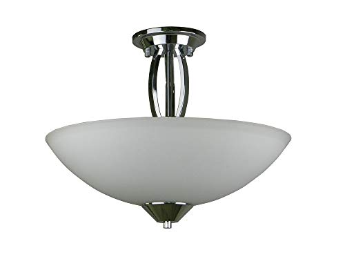 Whitfield Lighting SF179-16CH Anna - Three Light Semi Flush Mount, Chrome Finish with White Glass