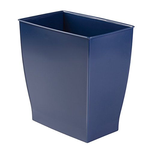 mDesign Rectangular Trash Can Wastebasket, Small Garbage Container Bin for Bathrooms, Powder Rooms, Kitchens, Home Offices - Shatter-Resistant Plastic, Navy Blue by mDesign