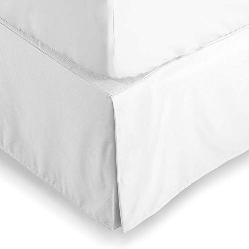 (Bare Home Bed Skirt Double Brushed Premium Microfiber, 15-Inch Tailored Drop Pleated Dust Ruffle, 1800 Ultra-Soft Collection, Shrink and Fade Resistant (Full, White))
