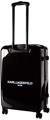 Karl Lagerfeld Paris Kat & Karl Expandable Hardside Spinner Luggage, Black, 24 Inch