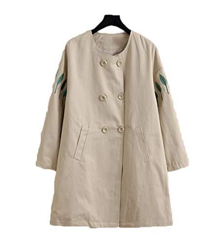 Foglia Donna Nuova A Vento Giacca Lunghezza Grandi Cachi Media Abbigliamento Cotone Jshfd Dimensioni Lunga Di Fq0wf55v